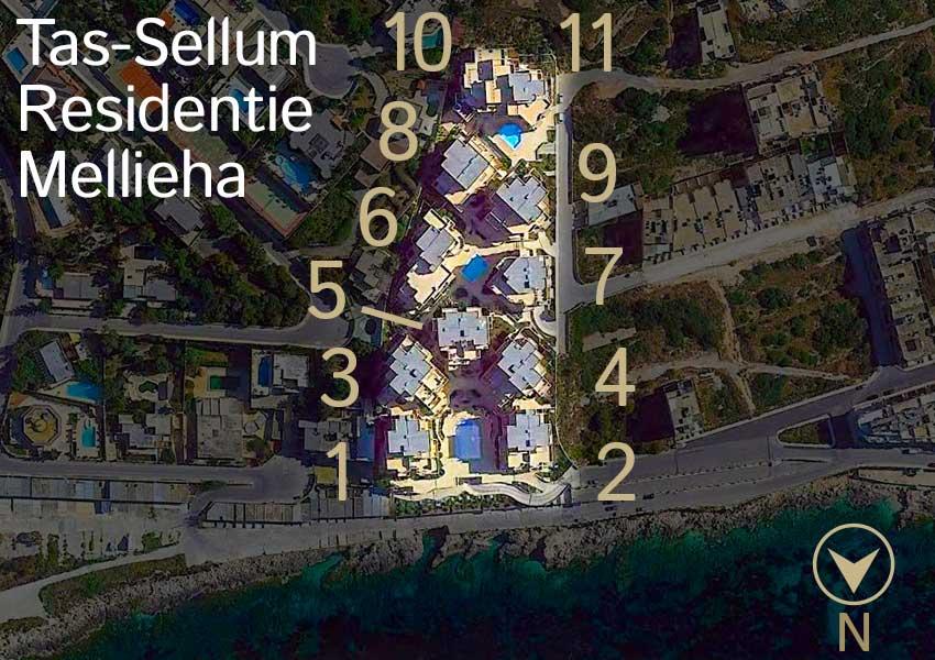 tas-sellum residentie mellieha luchtfoto overzicht domein inplanting wereldwijdleven