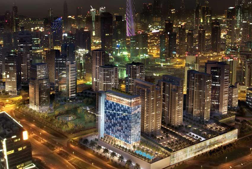 hotel verlichte burj khalifa achtergrond investeren in dubai wereldwijd leven