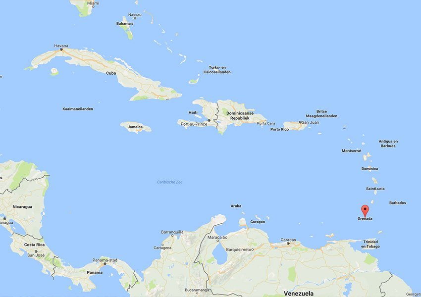 ligging grenada zuidelijk deel caraiben