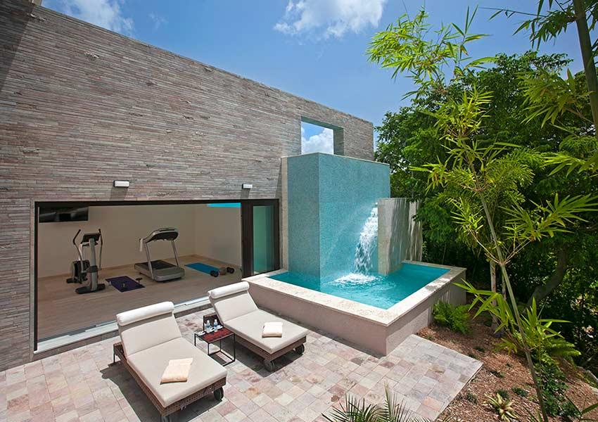 spa fitness buiten voorbeeld villa poinciana estates bouwgronden four seasons vastgoed nevis wereldwijdleven