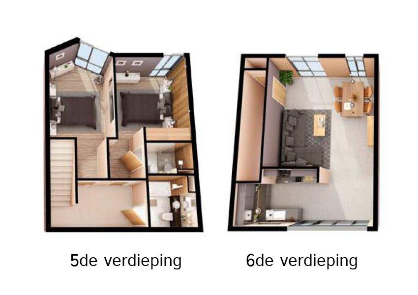 3d grondplan duplex flat 2 slaapkamers investeringsvastgoed in liverpool