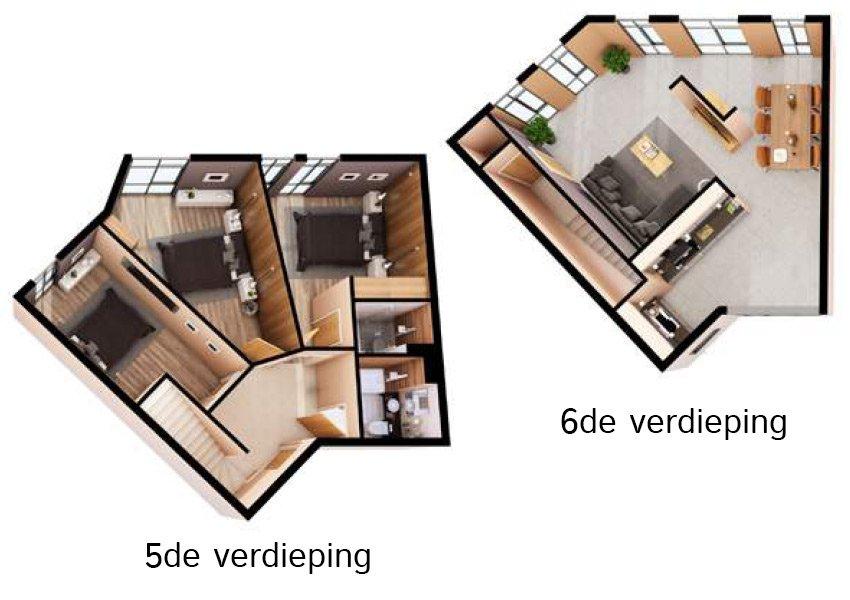 3d grondplan duplex flat 3 slaapkamers investeringsvastgoed in liverpool