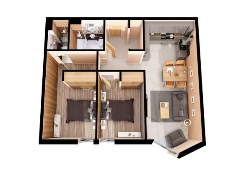 3d grondplan flat 2 slaapkamers investeringsvastgoed in liverpool