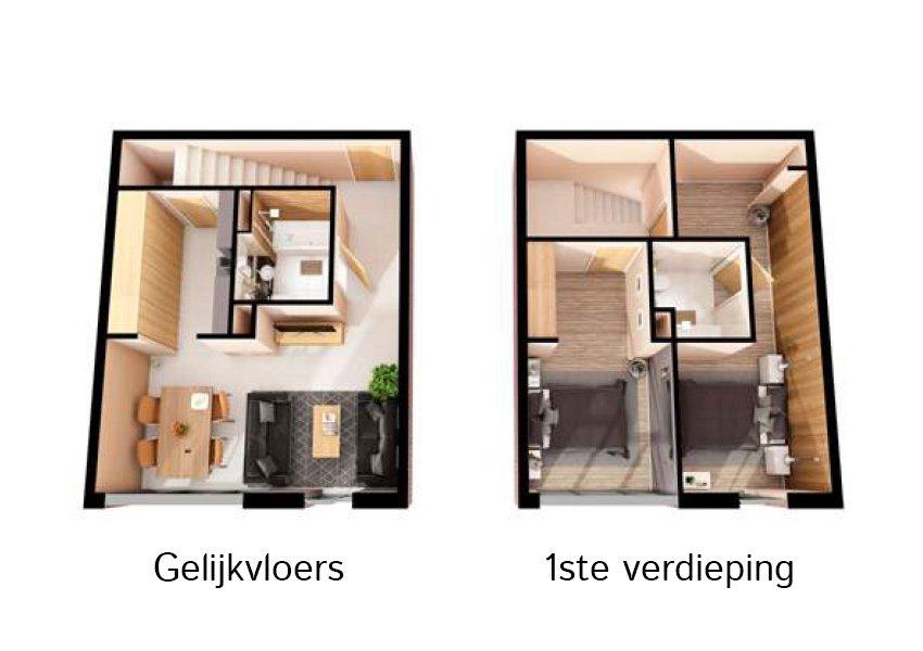 3d grondplan gelijkvloers duplex flat 2 slaapkamers investeringsvastgoed in liverpool