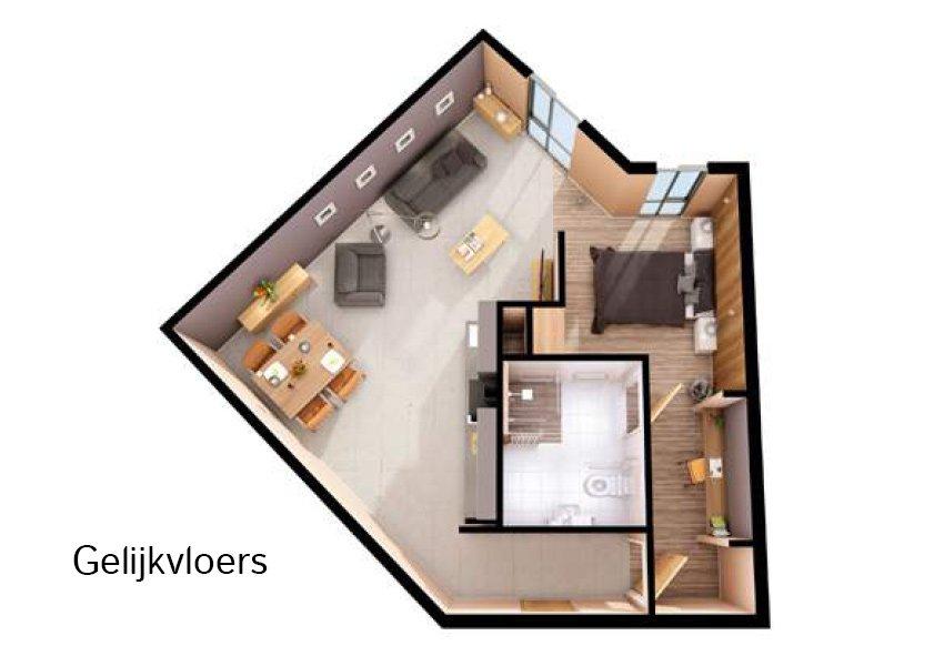 3d grondplan toegankelijke flat 1 slaapkamer investeringsvastgoed in liverpool