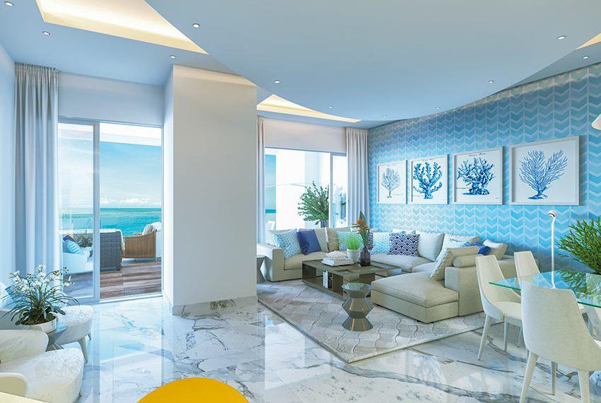 comfortabele leefruimte met fris interieur en uitzicht over caraibische zee opbrengsteigendom san pedro de macoris