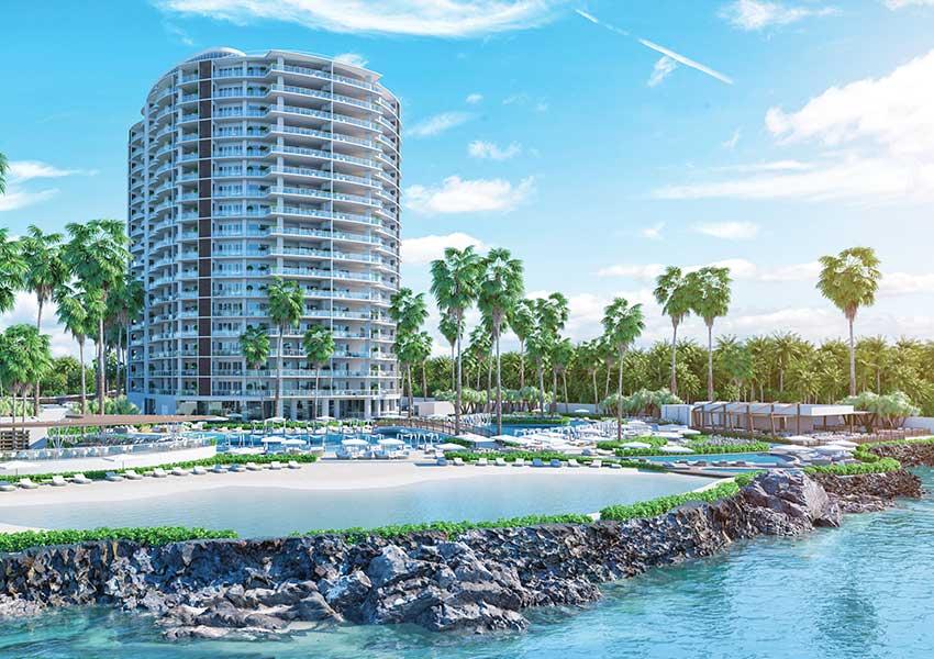 condominium hotel met appartement met zeezicht te koop in de dominicaanse republiek vanuit zee lagune en zwembad juan dolio