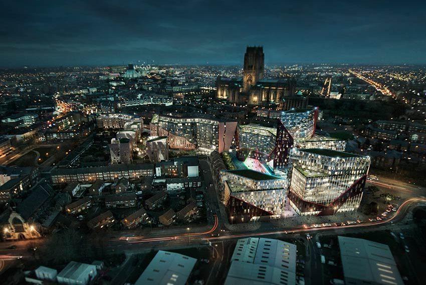 luchtfoto overzicht investeringsvastgoed in liverpool