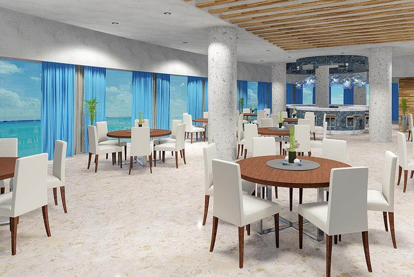 ontspanningsruimte met bar en zeezicht in het gebouw san pedro de macoris dominicaanse republiek