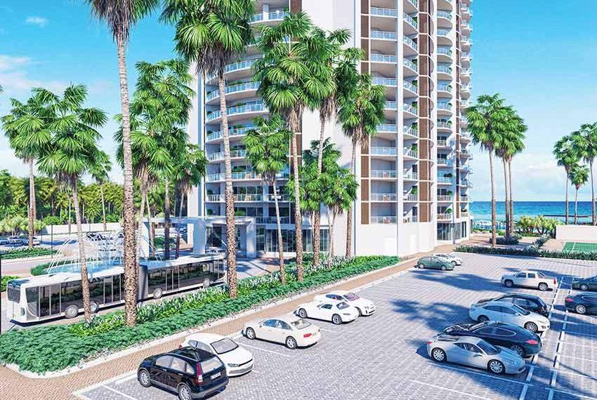 veel parkeerplaats rond gebouw belangrijk voor toeristen en bezoekers juan dolio dominicaanse republiek