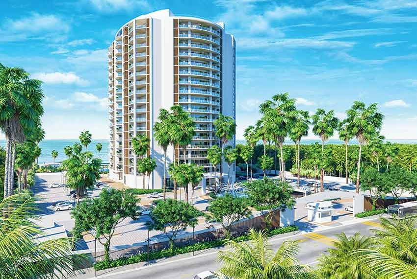 voorkant condominium hotel met opbrengsteigendommen te koop juan dolio dominicaanse republiek