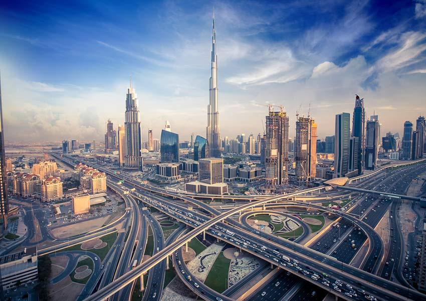 verenigde arabische emiraten dubai wegen wolkenkrabbers wereldwijd leven