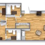 grondplan appartement met twee slaapkamers en balkon halcyon retreat golf spa resort