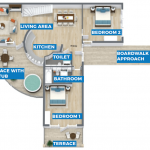 grondplan luxe boomhut gelijkvloers vastgoedbelegging met verhuurgarantie frankrijk