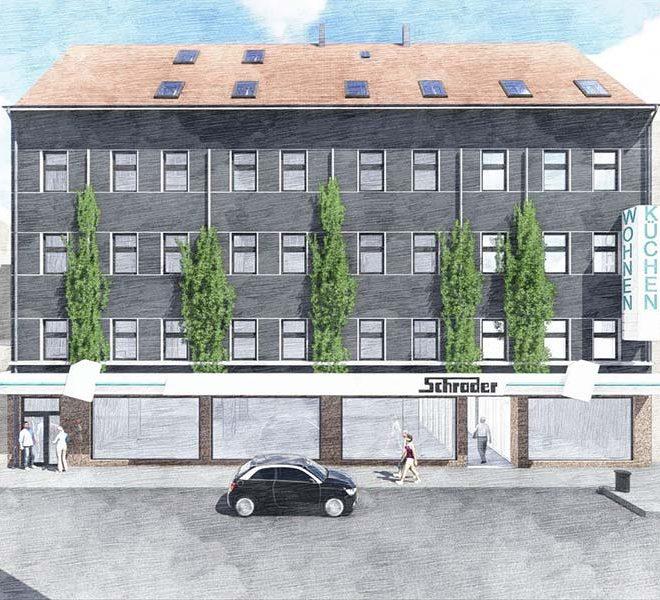 duits appartementsgebouw als investering 9 appartementen en winkelruimte met huurrendement