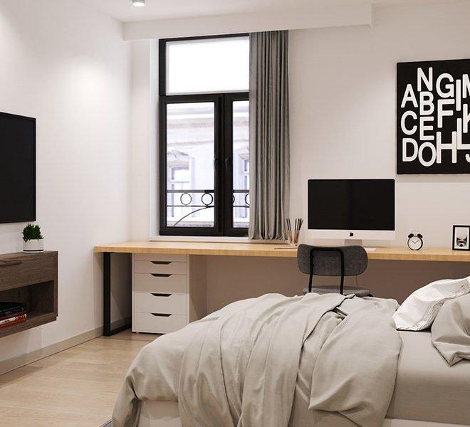 luxe studio's te koop in leuven met bed bureel en ontspanning inclusief voldoende natuurlijk licht