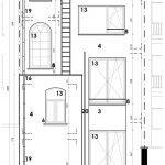 plan achtergevel gebouw met studentenstudio's te koop in leuven