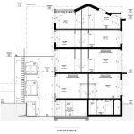 plan doorsnede gebouw in leuven met studio's voor studenten te koop