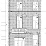 plan voorgevel gebouw met 13 studio's te koop in leuven