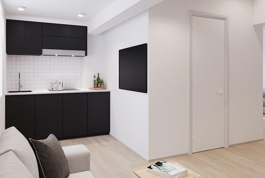 privé keuken van studio in studentengebouw te leuven comfort en luxe voorop