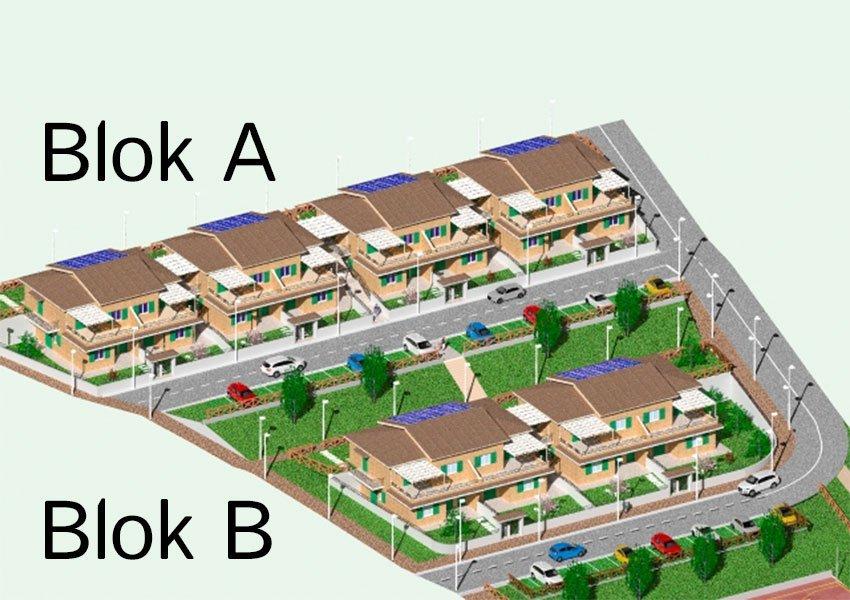 3D tekening van residentiële nieuwbouwappartementen te koop aan adriatische zee in italië