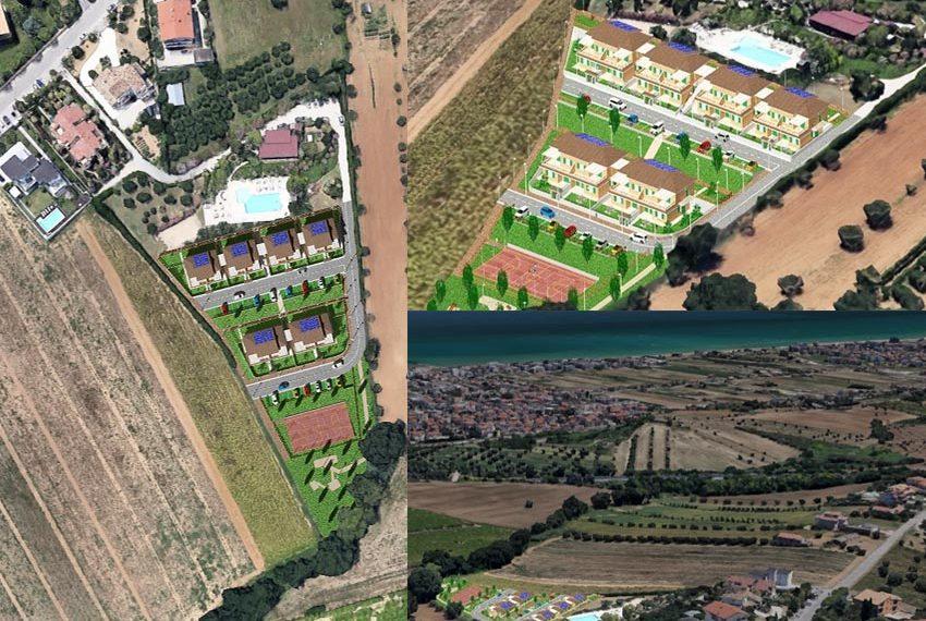 inplanting vakantiewoningen met appartementen te koop op heuvelflank met uitzicht over zee oost italië