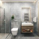 badkamer uitgerust met inloopdouche hangwc wastafel en spiegel vastgoed montenegro te koop