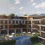 binnentuin met overloop zwembad en zicht op adriatische zee montenegro