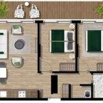 grondplan 2 slaapkamer appartement te koop met terras tivat montenegro voor gemengd gebruik privé en verhuur