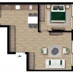 grondplan deluxe appartement met 1 slaapkamer te koop tivat montenegro ook voor verhuur
