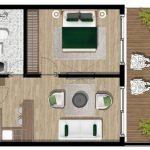 grondplan standaard appartement met 1 slaapkamer royal blue montenegro