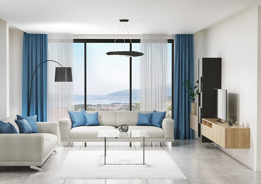 modern interieur van leefruimte appartement te koop in residentie tivat montenegro