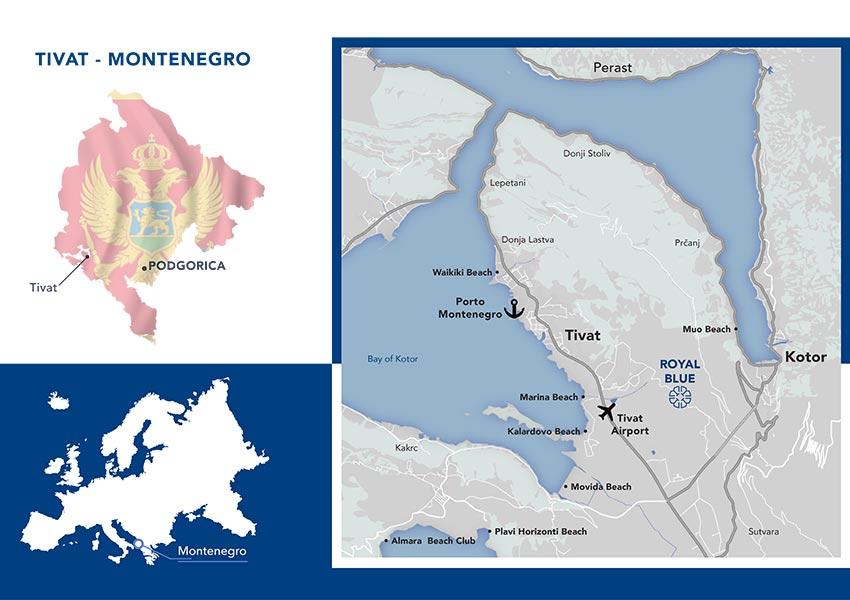 waar ligt montenegro en tivat kaart en ligging
