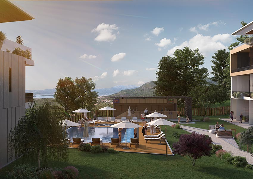 zicht op tuin en adriatische zee vanop balkon appartement eerste verdieping