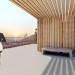 gemeenschappelijk terras binnentuin studios te koop ondergronds ingewerkt in heuvelflank