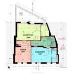 grondplan derde verdieping gebouw luxe kamers te koop voor studenten in leuven