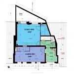 plan gelijkvloers studentenhuis met studios en luxe kamers te koop