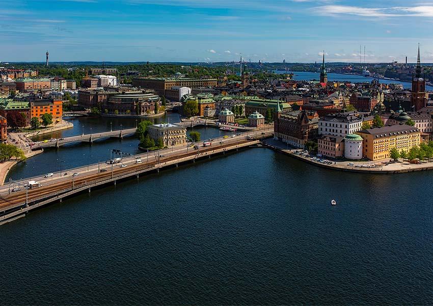 stockholm vanuit de lucht gezien hoofdstad zweden