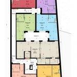 grondplan eerste verdieping studentenhuis met compacte studentenstudios te koop leuven