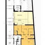 grondplan gelijkvloerse verdieping studentenpand in leuven met studios te koop