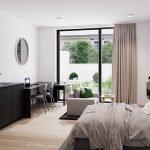 gemeubileerde studio voor studenten te koop inclusief keuken en badkamer tweepersoonsbed bureau zetel en ruime tuin en terras leuven