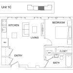 grondplan appartement met 1 slaapkamer voor verhuur unit 1C in multi familie opbrengsteigendom te koop als belegging in amerika