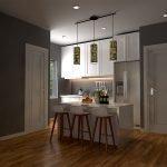 keuken met barstoelen en verhoogde eettafel ingebouwde amerikaanse koelkast parket in verhuurappartement