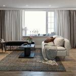 warm interieur met parket als vloerbedekking en veel natuurlijke lichtinval ingebouwde spotjes in plafond
