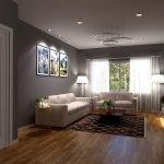 woonkamer van verhuurappartement houten vloerbedekking en ingebouwde spots in plafond verenigde staten