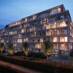 residentie met nieuwbouw appartementen te koop unieke beleggingsopportuniteit in brussels vastgoed impressie bij valavond straatkant