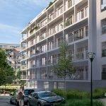 zijstraat met zijgevel van nieuwbouw complex met 1 2 en 3 slaapkamer appartementen te koop in brussel