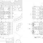 grondplannen gelijkvloers en verdiep van appartementsgebouwen D en E