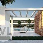 design gemeenschappelijke gazebo in tuin aan zwembad nieuwbouw project mar de cristal costa calida spanje