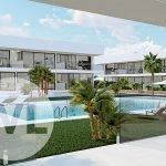 gelijkvloers appartement te koop in nieuwbouw project mar de cristal costa calida uiteinde U vorm